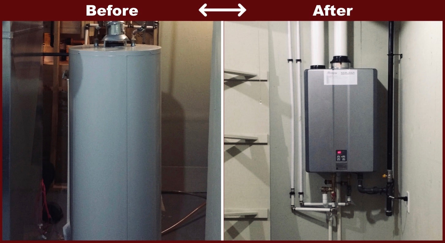 before and after heating system
